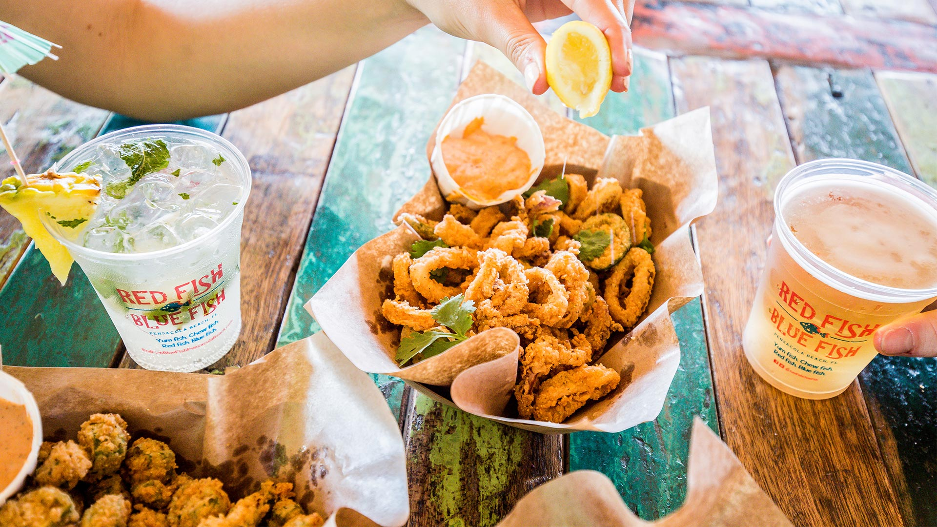 Small Bites | Fried Okra + Pimento Cheese + Calamari | Red Fish Blue Fish Pensacola Beach