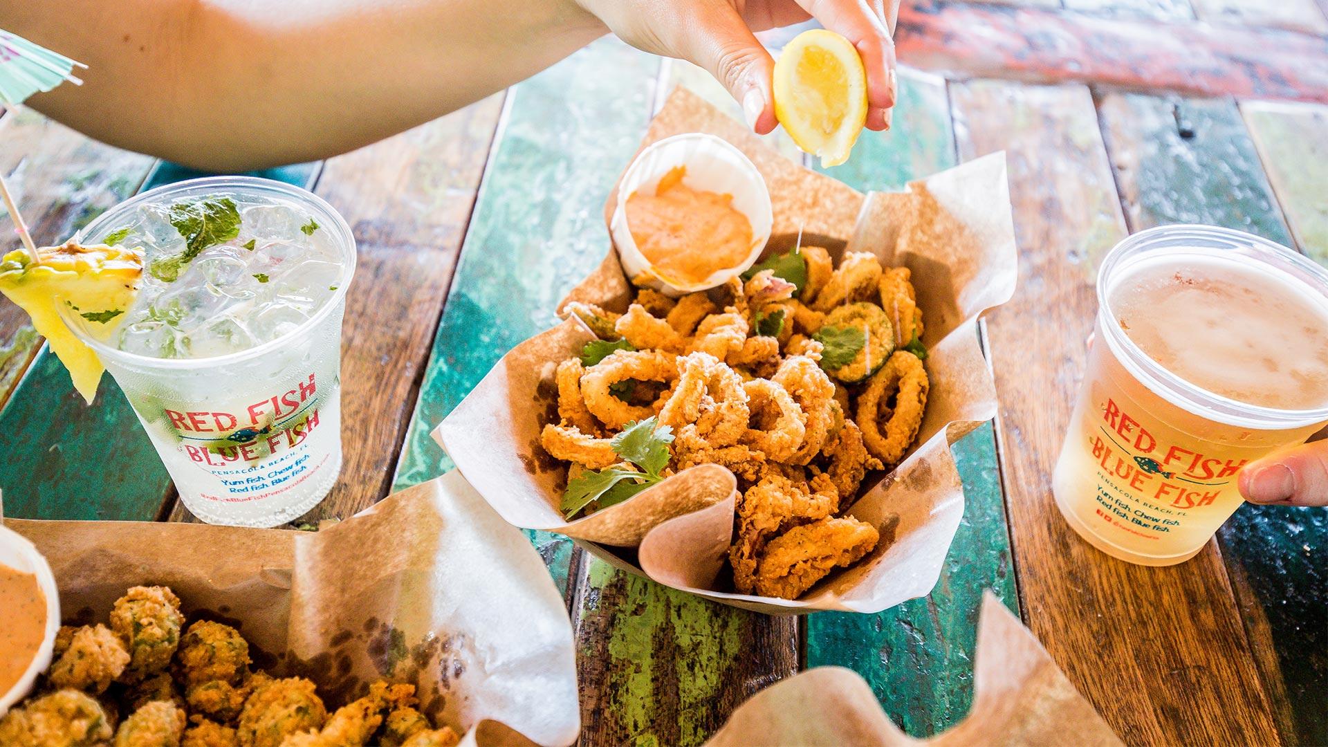 Small Bites | Fried Okra + Pimento Cheese + Calamari | Red Fish Blue Fish Pensacola Beach