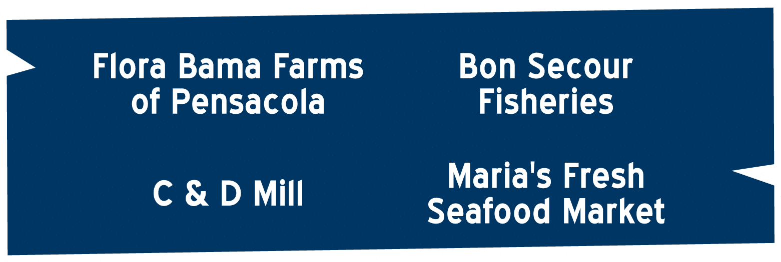 Red Fish Blue Fish Suppliers | Flora Bama Farms of Pensacola, C&D Mill, Bon Secour Fisheries, Maria's Fresh Seafood Market